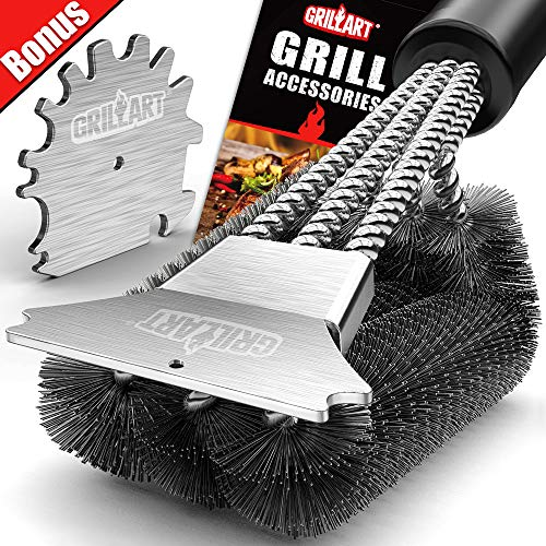 GRILLART Grill Brush and Scraper 18 Inch Wire Bristle Brush Double Scrapers Best Barbecue Cleaning Brush for Weber All GasCharcoal Grilling Grates Universal Fit BBQ Grill Accessories 0