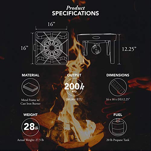 GasOne 200 000 BTU Square Heavy Duty Single Burner Outdoor Stove Propane Gas Cooker with Adjustable 0 20Psi Regulator Steel Braided Hose Perfect for Home Brewing Turkey Fry Maple Syrup Prep 0 0