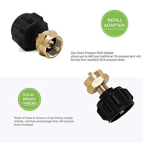 GasOne 50180 Refill Adapter for 1lb Propane Tanks Fits 20lb Tanks Black 0 0