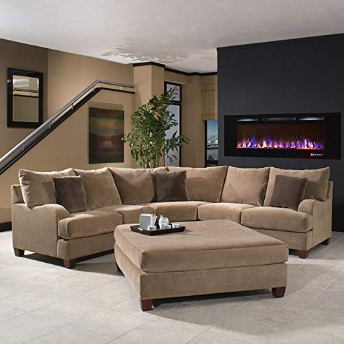 Gibson Living Room Decor Bombay 60 Crystal Recessed Touch Screen Multi Color Wall Mounted Electric Fireplace 0 0