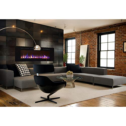 Gibson Living Room Decor Bombay 60 Crystal Recessed Touch Screen Multi Color Wall Mounted Electric Fireplace 0 1