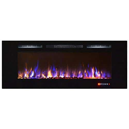 Gibson Living Room Decor Bombay 60 Crystal Recessed Touch Screen Multi Color Wall Mounted Electric Fireplace 0