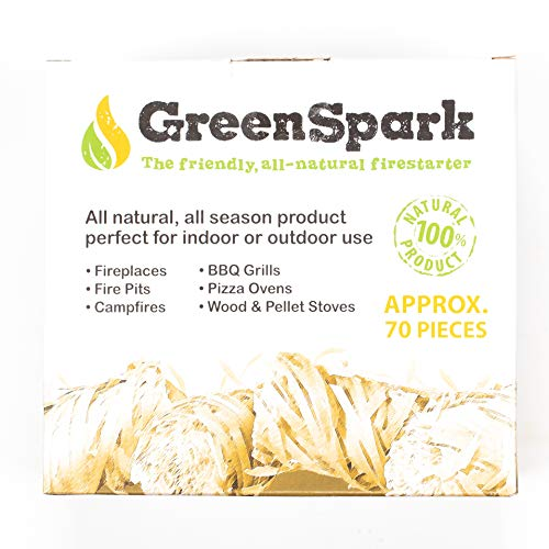 GreenSpark Friendly Fire Starter Bundles 70 Count 100 All Natural 8 10 Min Burn Fireplace Campfire Fire Pit BBQ Grill Wood Pellet Stove IndoorOutdoor All Weather Super Fast Lighting 0 4