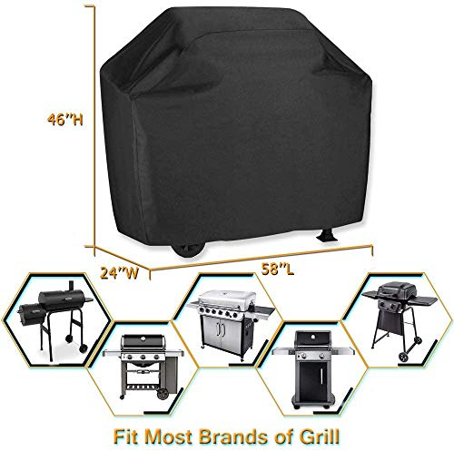 Grill Cover 58 inch BBQ Gas Grill Cover Waterproof Weather Resistant UV and Fade Resistant UV Resistant Materia for Weber Char Broil Nexgrill Grills and More VIBOOS 0 5