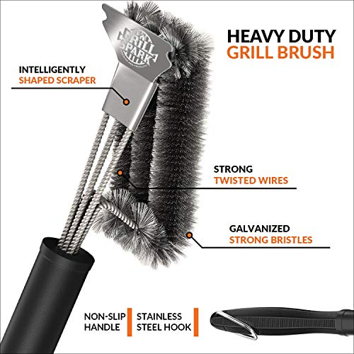 Grill Spark Grill Brush and Scraper 18 Inch Stainless Steel Wire Bristles Brush Barbecue Cleaning Brush for Weber GasCharcoal Grilling Grates BBQ Grill Accessories 0 0