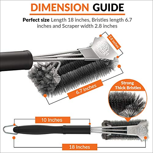 Grill Spark Grill Brush and Scraper 18 Inch Stainless Steel Wire Bristles Brush Barbecue Cleaning Brush for Weber GasCharcoal Grilling Grates BBQ Grill Accessories 0 1