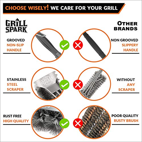 Grill Spark Grill Brush and Scraper 18 Inch Stainless Steel Wire Bristles Brush Barbecue Cleaning Brush for Weber GasCharcoal Grilling Grates BBQ Grill Accessories 0 2
