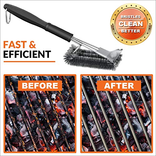 Grill Spark Grill Brush and Scraper 18 Inch Stainless Steel Wire Bristles Brush Barbecue Cleaning Brush for Weber GasCharcoal Grilling Grates BBQ Grill Accessories 0 4