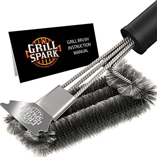 Grill Spark Grill Brush and Scraper 18 Inch Stainless Steel Wire Bristles Brush Barbecue Cleaning Brush for Weber GasCharcoal Grilling Grates BBQ Grill Accessories 0