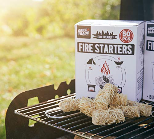 Grill Trade Tumbleweeds Fire Starter All Natural Fire Starters easily burn up your Wood Stove Grill Fireplace Camping Fire Pit BBQ Charcoal Chimney Pizza Oven 50 Firelighters in Box 0 5