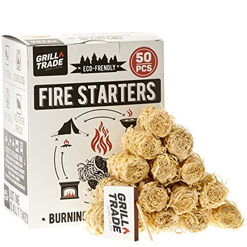Grill Trade Tumbleweeds Fire Starter All Natural Fire Starters easily burn up your Wood Stove Grill Fireplace Camping Fire Pit BBQ Charcoal Chimney Pizza Oven 50 Firelighters in Box 0