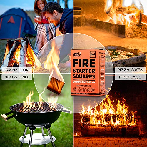 GrillTrade Fire Starter Squares 144 Easy Burn Your BBQ Grill Camping Fire Wood Stove Smoker Pellets Lump Charcoal Fireplace Fire Cubes are The Best Barbeque Accessories 100 All Natural 0 0