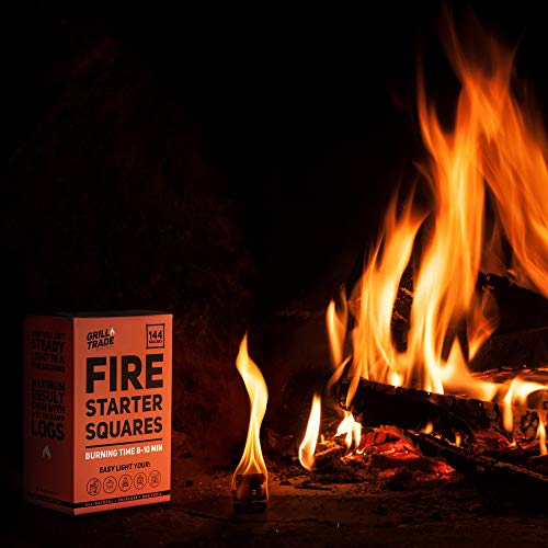 GrillTrade Fire Starter Squares 144 Easy Burn Your BBQ Grill Camping Fire Wood Stove Smoker Pellets Lump Charcoal Fireplace Fire Cubes are The Best Barbeque Accessories 100 All Natural 0 3