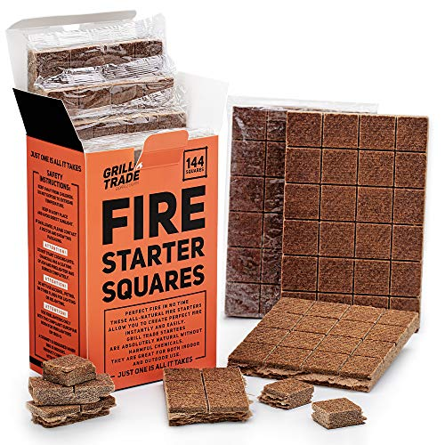 GrillTrade Fire Starter Squares 144 Easy Burn Your BBQ Grill Camping Fire Wood Stove Smoker Pellets Lump Charcoal Fireplace Fire Cubes are The Best Barbeque Accessories 100 All Natural 0 4