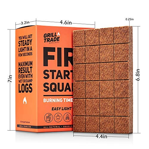 GrillTrade Fire Starter Squares 144 Easy Burn Your BBQ Grill Camping Fire Wood Stove Smoker Pellets Lump Charcoal Fireplace Fire Cubes are The Best Barbeque Accessories 100 All Natural 0 5