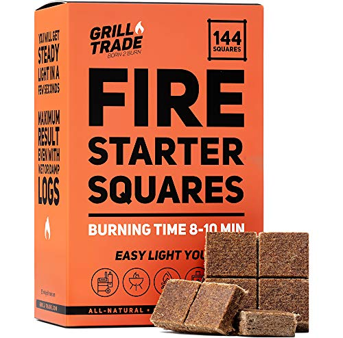 GrillTrade Fire Starter Squares 144 Easy Burn Your BBQ Grill Camping Fire Wood Stove Smoker Pellets Lump Charcoal Fireplace Fire Cubes are The Best Barbeque Accessories 100 All Natural 0