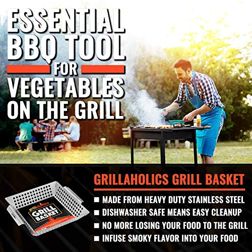 Grillaholics Heavy Duty Grill Basket Large Grilling Basket for More Vegetables Stainless Steel Grilling Accessories Built to Last Perfect Vegetable Grill Basket for All Grills and Veggies 0 0