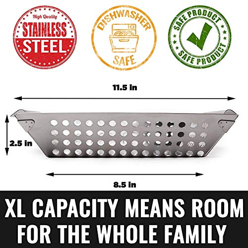 Grillaholics Heavy Duty Grill Basket Large Grilling Basket for More Vegetables Stainless Steel Grilling Accessories Built to Last Perfect Vegetable Grill Basket for All Grills and Veggies 0 1