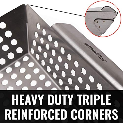 Grillaholics Heavy Duty Grill Basket Large Grilling Basket for More Vegetables Stainless Steel Grilling Accessories Built to Last Perfect Vegetable Grill Basket for All Grills and Veggies 0 2