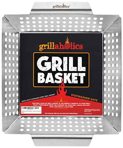 Grillaholics Heavy Duty Grill Basket Large Grilling Basket for More Vegetables Stainless Steel Grilling Accessories Built to Last Perfect Vegetable Grill Basket for All Grills and Veggies 0