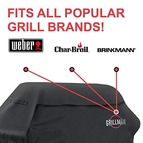 Grillman Premium 58 Inch BBQ Grill Cover Heavy Duty Gas Grill Cover For Weber Brinkmann Char Broil etc Rip Proof UV Water Resistant 0 1