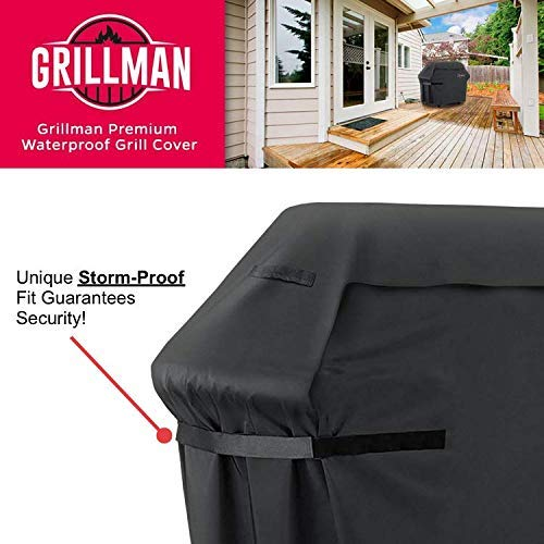 Grillman Premium 58 Inch BBQ Grill Cover Heavy Duty Gas Grill Cover For Weber Brinkmann Char Broil etc Rip Proof UV Water Resistant 0 3