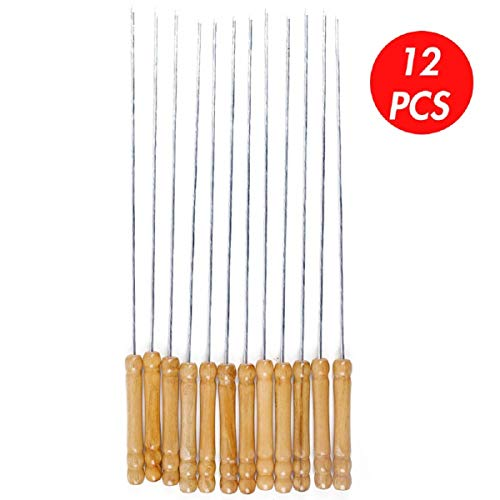 HAKSEN 12 PCS Barbecue Skewers with Wood Handle Marshmallow Roasting Sticks Meat Hot Dog Fork Best for BBQ Camping Cookware Campfire Grill Cooking Stainless Steel 0 2