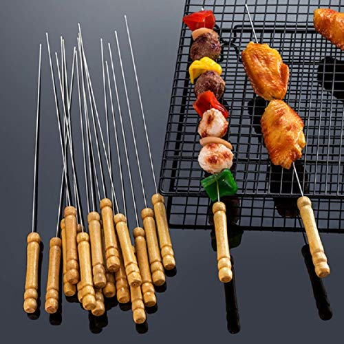 HAKSEN 12 PCS Barbecue Skewers with Wood Handle Marshmallow Roasting Sticks Meat Hot Dog Fork Best for BBQ Camping Cookware Campfire Grill Cooking Stainless Steel 0 3