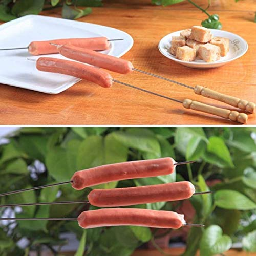 HAKSEN 12 PCS Barbecue Skewers with Wood Handle Marshmallow Roasting Sticks Meat Hot Dog Fork Best for BBQ Camping Cookware Campfire Grill Cooking Stainless Steel 0 4