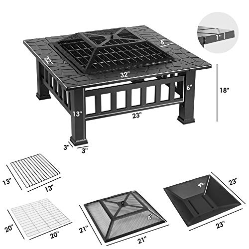 HEMBOR 32 Outdoor Fire Pit Table Multi Purpose Square Fireplace Backyard Patio Garden Outside Wood Burning Heater BBQ Ice Pit with BBQ FramesWaterproof Cover Suitable for Party Picnic Camp 0 0