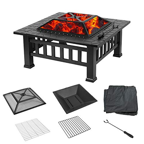 HEMBOR 32 Outdoor Fire Pit Table Multi Purpose Square Fireplace Backyard Patio Garden Outside Wood Burning Heater BBQ Ice Pit with BBQ FramesWaterproof Cover Suitable for Party Picnic Camp 0 1