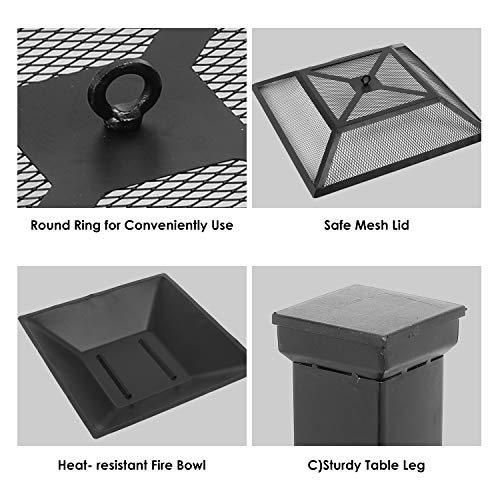 HEMBOR 32 Outdoor Fire Pit Table Multi Purpose Square Fireplace Backyard Patio Garden Outside Wood Burning Heater BBQ Ice Pit with BBQ FramesWaterproof Cover Suitable for Party Picnic Camp 0 2