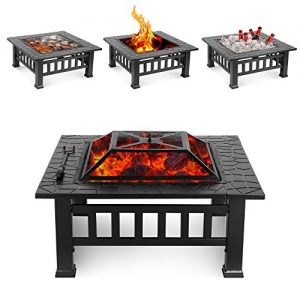 HEMBOR 32 Outdoor Fire Pit Table Multi Purpose Square Fireplace Backyard Patio Garden Outside Wood Burning Heater BBQ Ice Pit with BBQ FramesWaterproof Cover Suitable for Party Picnic Camp 0