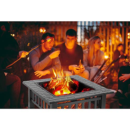 HEMBOR 32 Outdoor Fire Pit Table Multi Purpose Square Fireplace Backyard Patio Garden Outside Wood Burning Heater BBQ Ice Pit with BBQ FramesWaterproof Cover Suitable for Party Picnic Camp 0 4