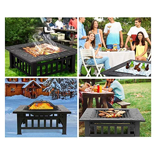 HEMBOR 32 Outdoor Fire Pit Table Multi Purpose Square Fireplace Backyard Patio Garden Outside Wood Burning Heater BBQ Ice Pit with BBQ FramesWaterproof Cover Suitable for Party Picnic Camp 0 5