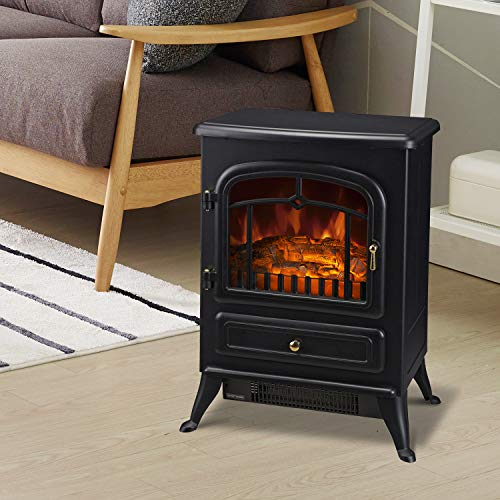 HOMCOM Freestanding Electric Fireplace Heater with Realistic Flames 21 H 1500W Black 0 0