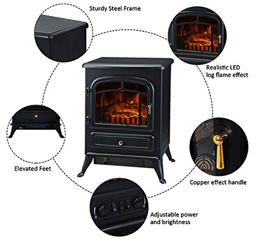 HOMCOM Freestanding Electric Fireplace Heater with Realistic Flames 21 H 1500W Black 0 1