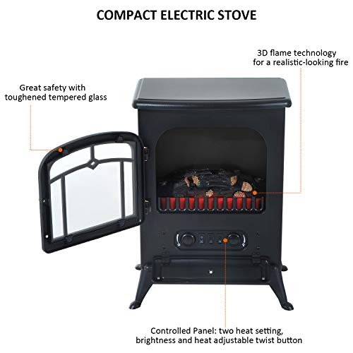 HOMCOM Freestanding Electric Fireplace Heater with Realistic Flames 21 H 1500W Black 0 2