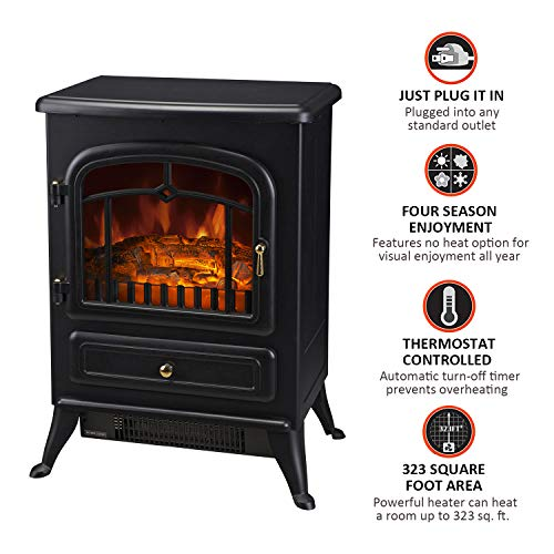 HOMCOM Freestanding Electric Fireplace Heater with Realistic Flames 21 H 1500W Black 0 3