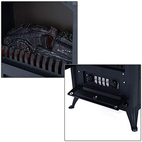 HOMCOM Freestanding Electric Fireplace Heater with Realistic Flames 21 H 1500W Black 0 4