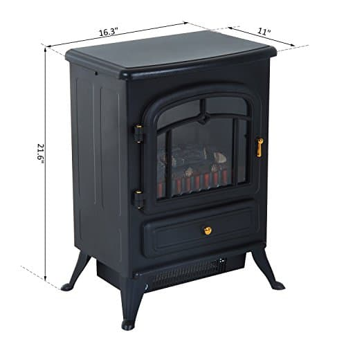 HOMCOM Freestanding Electric Fireplace Heater with Realistic Flames 21 H 1500W Black 0 5