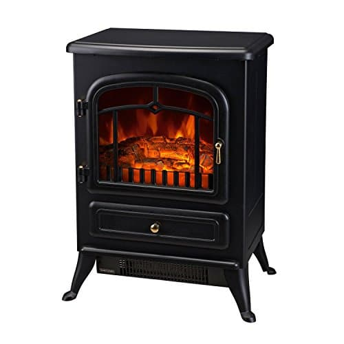 HOMCOM Freestanding Electric Fireplace Heater with Realistic Flames 21 H 1500W Black 0