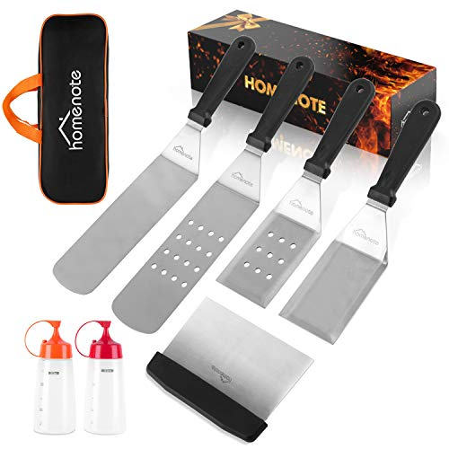 HOMENOTE Griddle Accessories Kit 7 Pieces Exclusive Griddle Tools LongShort Spatulas Set Commercial Grade Flat Top Grill Cooking Kit Great for Outdoor BBQ Teppanyaki and Camping 0