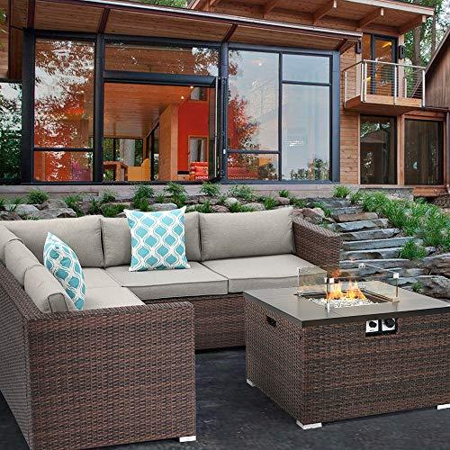 HOMPUS Outdoor 4 Piece Furniture Sofa w Fire Pit Set 32 inch 40000 BTU Square Rattan Fire Table w Glass Wind Guard for Garden 0 1