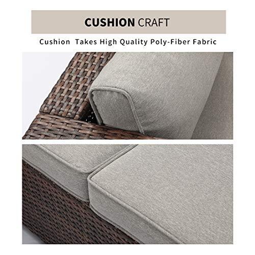 HOMPUS Outdoor 4 Piece Furniture Sofa w Fire Pit Set 32 inch 40000 BTU Square Rattan Fire Table w Glass Wind Guard for Garden 0 2