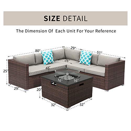 HOMPUS Outdoor 4 Piece Furniture Sofa w Fire Pit Set 32 inch 40000 BTU Square Rattan Fire Table w Glass Wind Guard for Garden 0 3