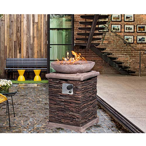 HOMPUS Propane Patio Fire Pit Table Lava Rocks and Rain Cover for Outdoor Leisure Party40000 BTU 20 inch Square Concrete Fire Table 0 0