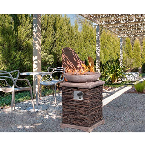 HOMPUS Propane Patio Fire Pit Table Lava Rocks and Rain Cover for Outdoor Leisure Party40000 BTU 20 inch Square Concrete Fire Table 0 1