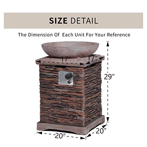 HOMPUS Propane Patio Fire Pit Table Lava Rocks and Rain Cover for Outdoor Leisure Party40000 BTU 20 inch Square Concrete Fire Table 0 3