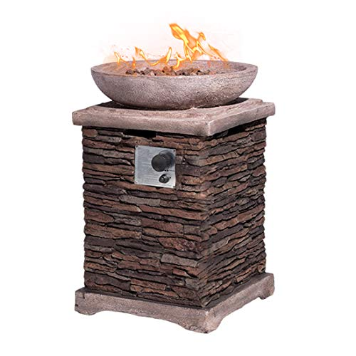 HOMPUS Propane Patio Fire Pit Table Lava Rocks and Rain Cover for Outdoor Leisure Party40000 BTU 20 inch Square Concrete Fire Table 0